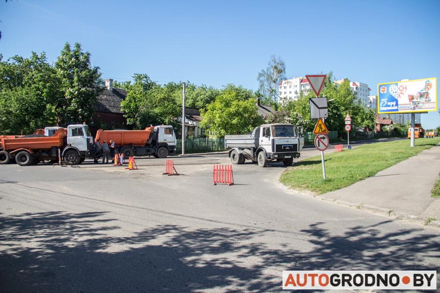 Ремонт улицы Калиновского в Гродно - новый асфальт фото