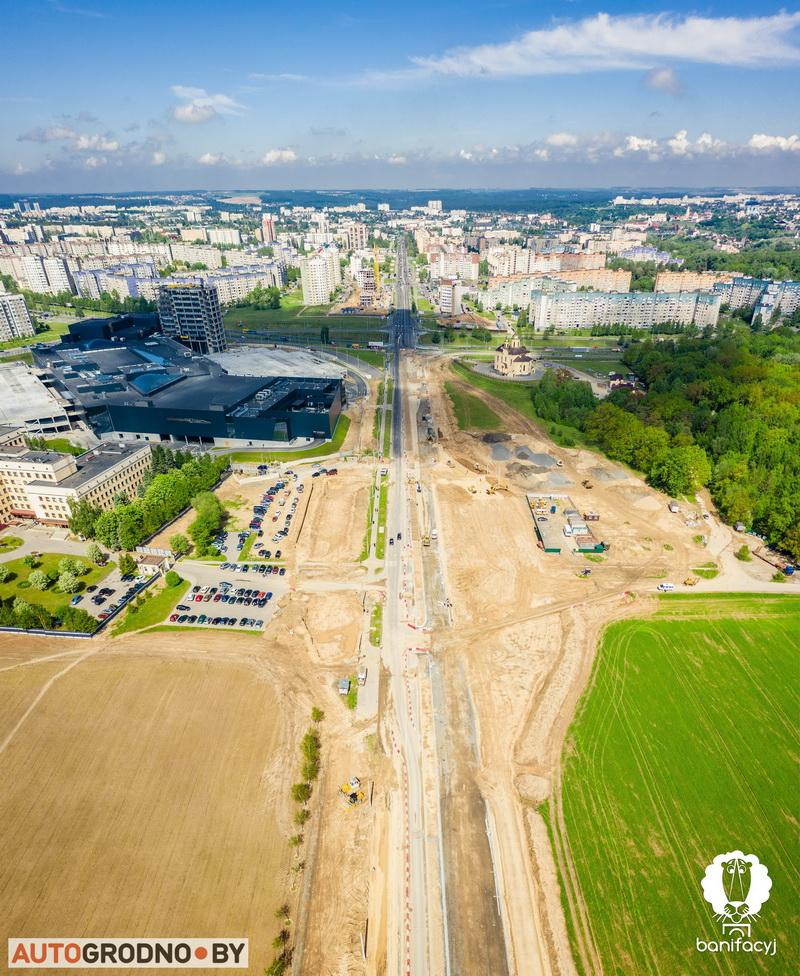Расширение проспекта Янки Купалы в Гродно фото с высоты с квадрокоптера