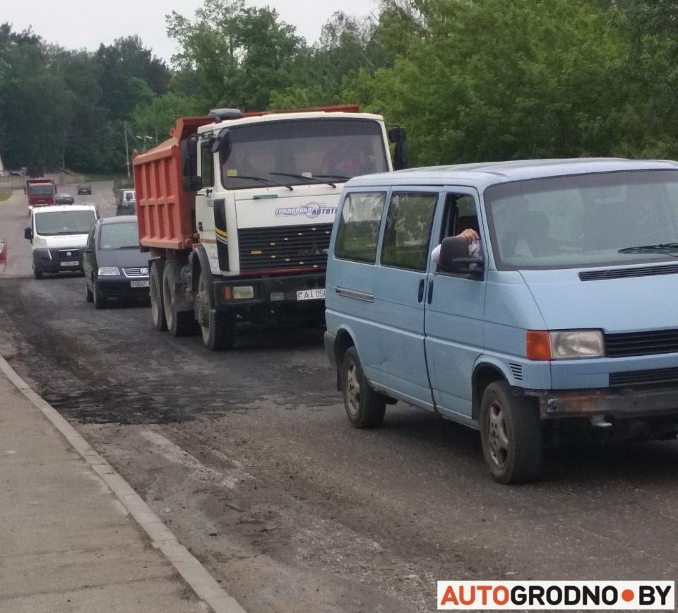 Улица Ткацкая в Гродно напротив Лососно фото ремонт дороги замена асфальта