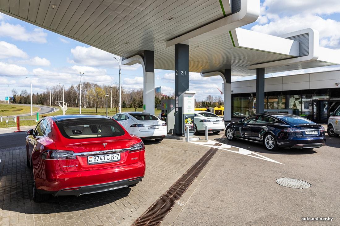 Владельцы Tesla из Гродно, Бреста и Минска запарковались в качестве протеста