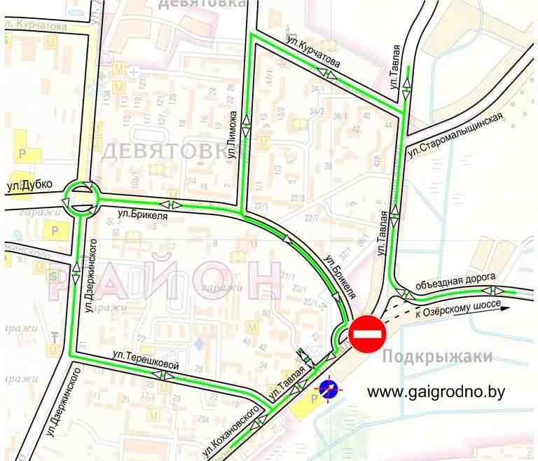 В ГАИ Гродно подготовили схему маршрутов объезда, они обозначены зелеными линиями.  Сроки действия вносимых изменений...